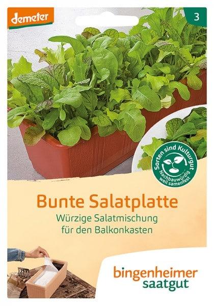 Würzige Salatmischung für den Balkonkasten Bunte Salatplatte